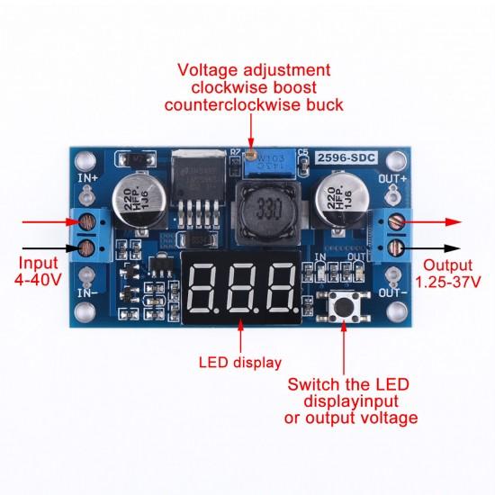 DC Buck Step down Converter LM2596 Voltage Regulator LED Voltmeter 36V to 24V 12V 5V 3.3V