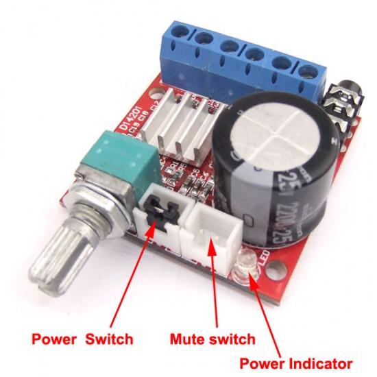 Mini Digital Audio Power Amplifier Module 2x10W  Class D AMP DIY 12V DC