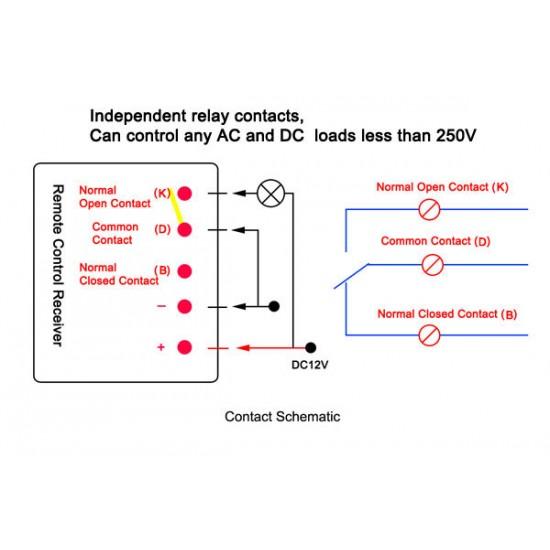 DC 12V  6 Channel Non Lock Switch Board DC 12V Remote Control Wireless Remote Controller