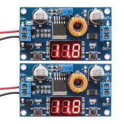 75W Buck Voltage Regulator/Adapter DC 4.0 ~ 38V to 1.25V ~ 36V 5A Adjustable Power Supply/Power Converter/ Driver Module + Voltmeter