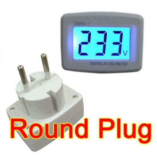 AC 80-300V LCD Voltmeter Household Home Factory Round Euro Plug AC Voltage Monitor 110V/220V 230V 240V