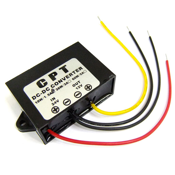 DC-DC 24V to 12V 1.5A Buck Converter Waterproof Step-Down Car Power Supply