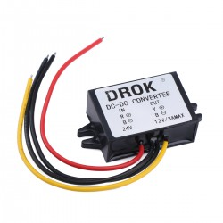 DC-DC 24V to 12V 3A Buck Converter Step-Down Module Waterproof Car Power Supply