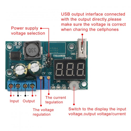 DC Buck Converter DC4~40V to1.2~38V 3A Constant Current Constant Voltage Power Supply USB Charger/Power Adapter/Laptop Power Supply + Voltmeter Ammeter