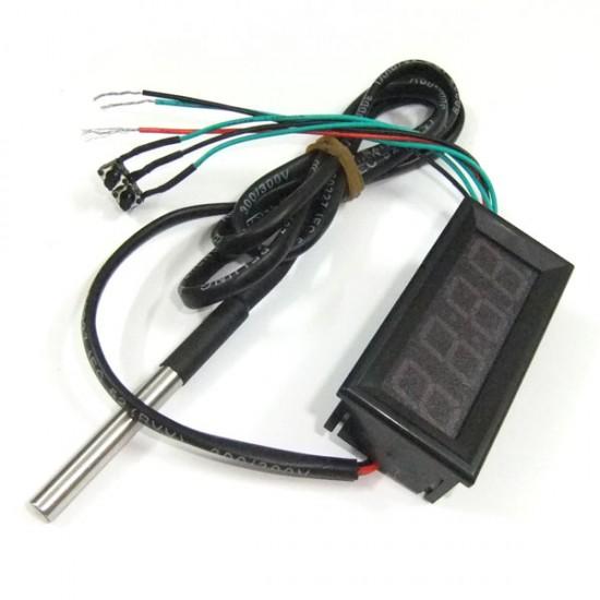 Digital Meter 3in1 Voltmeter/Thermometer/Clock Multifunction Panel Meter DC 12V 24V Red/Blue/Yellow/Green Led Display Multimeter/Monitor/Tester