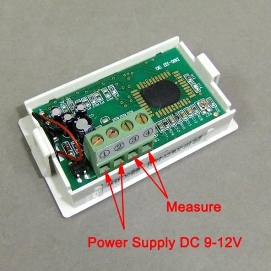 DC 0-199.9 V LCD Digital Voltmeter Four wires Voltage Test Meter DC Power Measurement Meter DC 9-12V Power Supply