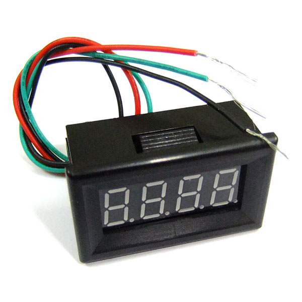 Waterproof Design  4 Digit Precision DC 0-30V Red/Blue/Yellow/Green LED Digital Voltmeter for Motorcycle Car and DIY ect