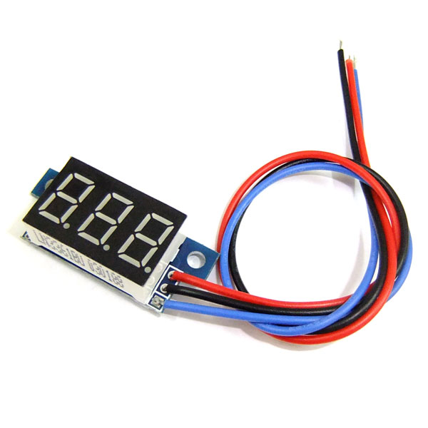 Ultra Small Digital Voltmeter 0-99.9V Red/Blue/Green/Yellow LED Three Wire Reverse Polarity Protection Motor Panel Meter with Ear