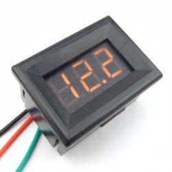 Digital Meter DC 0~30V Voltmeter Red/Blue/Yellow/Green Led display Digital Voltage Meter/Monitor DC 12V 24V Panel Meter/Tester with Low Pressure Alarm
