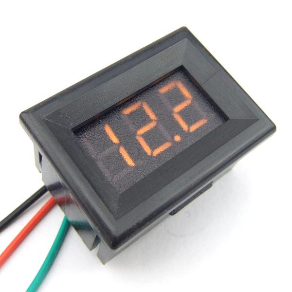 Digital Meter DC 0~30V Voltmeter Red/Blue/Yellow/Green Led display Digital Voltage Meter/Monitor DC 12V 24V Panel Meter/Tester with Low Pressure Alarm