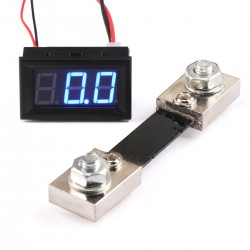 Mini DC Current Monitor Meter DC 0-100A Red/Blue/Green LED Digital Ammeter Meter + Current Shunt