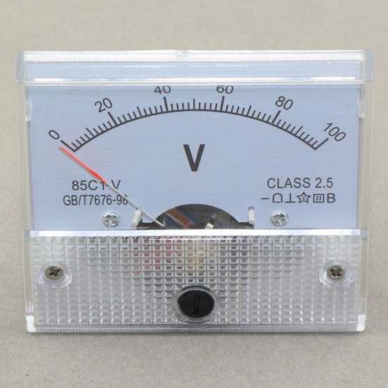 85c1-V Class 2.5 0~100V DC Analog Mechanical Voltage Meter Panel Pointer Meter