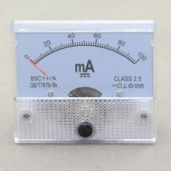 85C1-mA DC Amperemeter Gauge 0-100MA Analog AMP Meter Current Detector Class 2.5