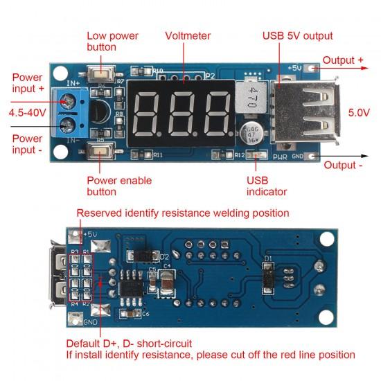 DC-DC 4.5-40V 5V 2A Step-down USB LED Voltmeter USBSpannungsumwandler Modul RF
