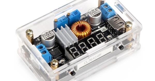 24v to 12v Step Down Converter DROK LM2596 Analog Control Buck Transformer DC-DC Voltage Reducer Regulator Module 36V 24V 12V to 5V 2A Power Inverter Volt Stabilizer with Red LED Display Voltmeter