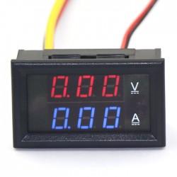 2in1 Digital Tester DC 0 ~100V/5A Ammeter Voltmeter DC Volt Ampere Meter DC 12V 24V Voltage Current Meter/Panel Meter