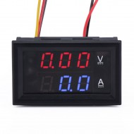 0-100 VA LED DC Volt Ammeter Voltmeter Amperemeter 2in1 Blue Red 2-color Display
