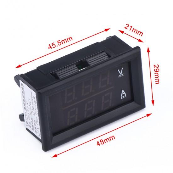 0-100 VA LED DC Volt Ammeter Voltmeter Amperemeter 2in1 Blue Red 2-color Display