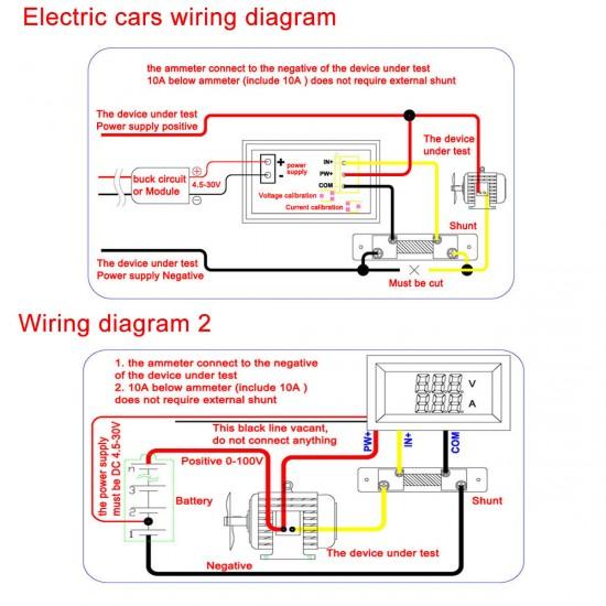 0 100 Va Led Dc Volt Ammeter Voltmeter Amperemeter 2in1 Blue Red 2 Color Display