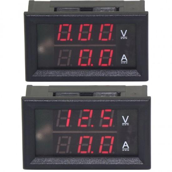 2in1 Digital Voltmeter Ammeter DC 100V/50A Digital Tester Red Led Display Volt Amp Meter DC 6V/12V/24V Voltage Monitor With Shunt Resistance