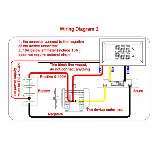 2in1 Digital Voltmeter Ammeter Dc 100v 50a Digital Tester Red Led Display Volt Amp Meter Dc