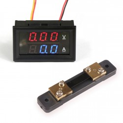 Digital Tester DC 0 ~100V/100A Voltage Current Meter DC 12V 24V Voltmeter Ammeter 2in1 Digital Panel Meter With Resistive Shunt