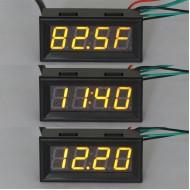 DC12V/24V Time/Voltage/Temperature 3in1 Display Panel Meter Multifunction 0.56