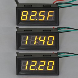 DC12V/24V Time/Voltage/Temperature 3in1 Display Panel Meter Multifunction 0.56