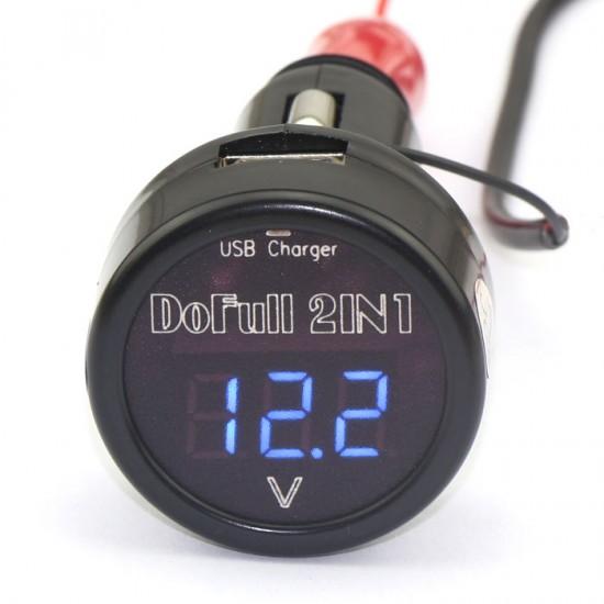 12V/24V Blue LED Digital Car Battery Volt Meter+5V 2A Chargers Usb For IPhone/IPad/IPod