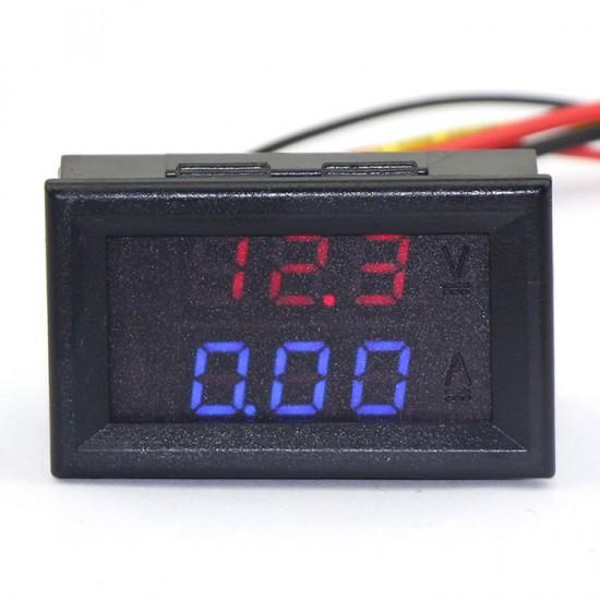 2in1 100V/10A Digital Voltmeter/Red Ammeter/Blue Current Voltage Dual LED Meter