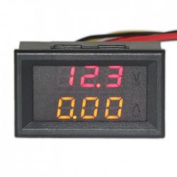 DC 100V/10A 2in1 Digital Voltmeter/Red Ammeter/Yellow Voltage Current Dual LED Meter