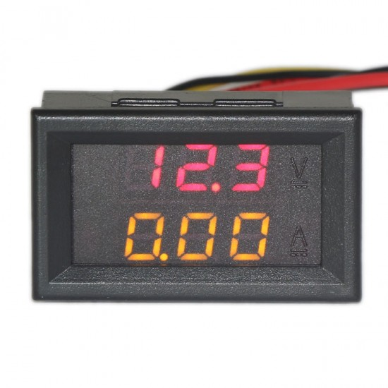 DC 100V/10A 2in1 Digital Voltmeter/Red Ammeter/Yellow Voltage Current Dual LED Meter