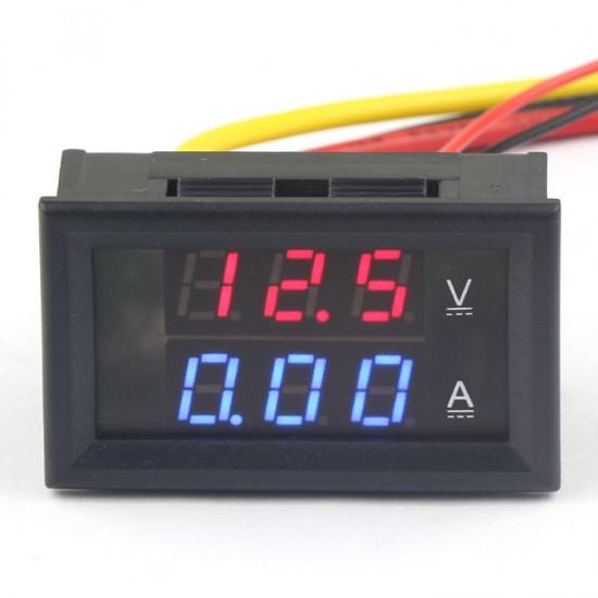 DC Voltage Current Measure Meter DC 300V/2A Red Blue Double Color Display Volt Amp Panel Meter 2in1 Voltmeter/Ammeter