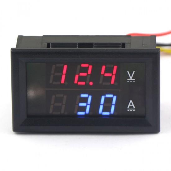 DC 0-300V/200A Red/Led Dual Color display Voltmeter Amperemeter 2in1 Volt Amp Panel Meter YB27VA