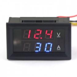 2in1 Volt Amp Panel Meter DC 0-300V/300A Red/Blue LED Dual Display Voltmeter Ammeter DC 4.5-30V Power Supply