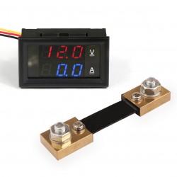 """DC Multimeter, Multi-usage 0.28"""" DC 4.5-30V/100A Red/Led Voltmeter Ammeter YB27VA 2in1 Volt Amp Panel Meter + Resistive Shunt"""