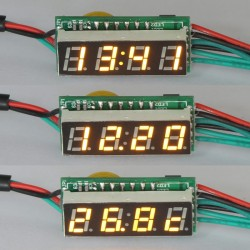 "0.28"" Red/Blue/Yellow/Green/White LED Display Panel Meter 3in1 multi-usage Time/Voltage/Temp Monitor DC12V/24V Power Supply"