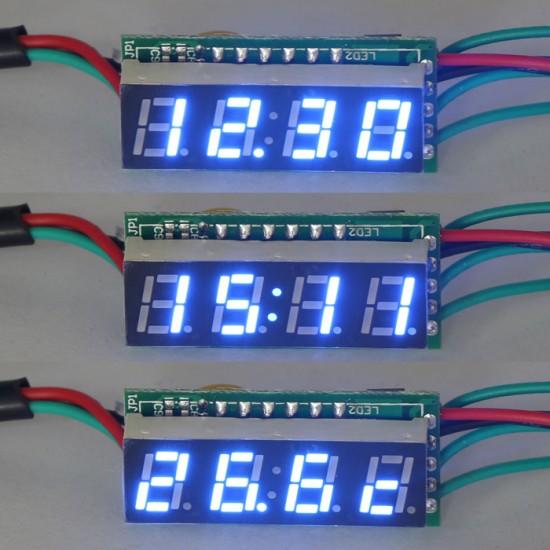 3in1 Digital Voltmeter Clock Themometer DC12 Volt/Temp/Time 0.28