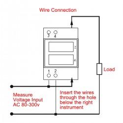 AC 110V/220V Digital LED Din-rail Voltmeter&Ammeter Red Volt Green Current Meter