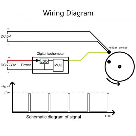 DC 12V 24V Digital Tachometer 60~9999 rpm Speedometer 0.56