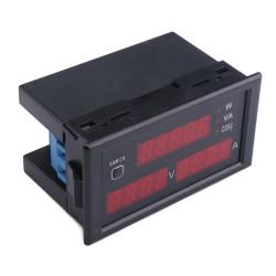5in1 Digital Multimeter AC 200~450V 220V~380V /100A Red Display Multifunction Voltage/Current/Active Power/Apparent Power/Power Factor Tester
