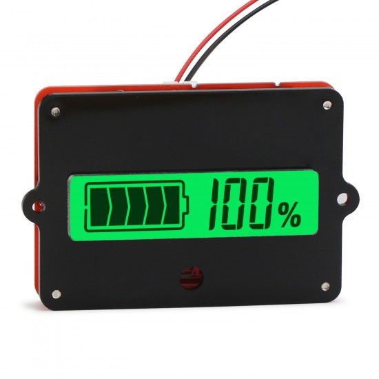 Digital Meter Battery Tester LCD Green Backlight Indicator Battery Capacity Monitor Panel Meter for 12V lead-acid battery etc