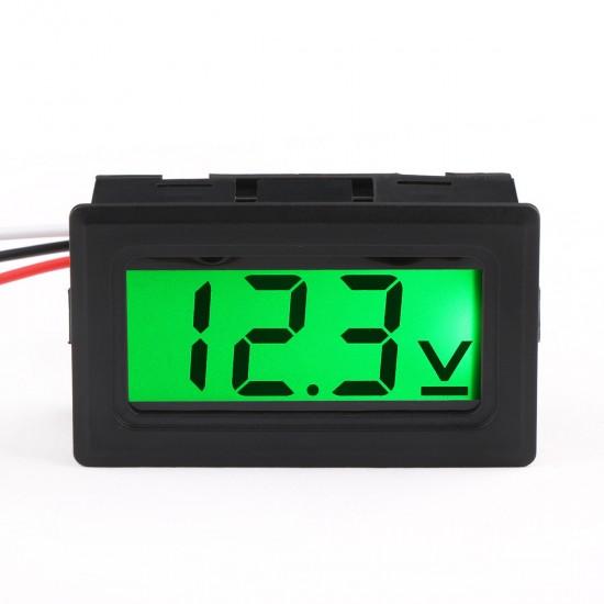 Digital Car Volt Tester DC 0-100V DC Voltage Monitor Meter 3-Wrie Green LCD Display