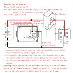 DC 0~600V Voltmeter 200A Ammeter 2in1 Multimeter Dual display Voltage Current Meter 2in1 Volt Amp Meter +  Current Transformer