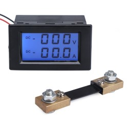 Digital Multimeter Voltage Ampere Meter DC 0~600V/100A Dual Display Voltage Current Meter + Shunt Resistor