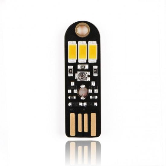 5 PCS/LOT USB Warm White Pocket Card Night Light Light Control Keychain Lights Lamp for Laptop/PC/Camping Lights