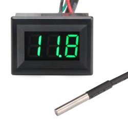 Digital Temperature Meter / Voltage Meter DC 12V 24V Green Led Fahrenheit degree Thermometer Voltmeter 2in1 Tester/Monitor for Car/Water/Air/Indoor/Outdoor