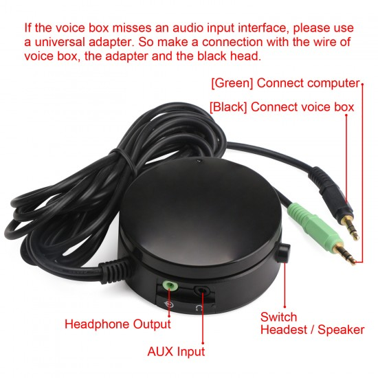 PC Speakers/Headphones Audio Switch Converter Volume Controller for Switching Back and Forth between PC Audio and Headphones