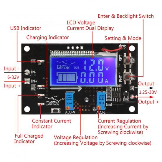 75W NC Charging module/Adjustable Voltage Regulator DC 6~32V to 1.25~32V 5A Buck Driver Module DC 12V 24V Adapter/Driver Module With LCD Voltmeter/Ammeter/Capacity Indicator