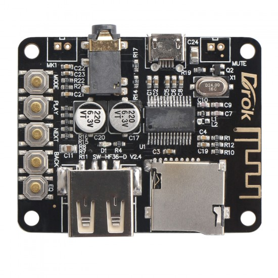 Bluetooth Stereo 3.5mm Audio Receiver Module with USB TF card decoding playback preamp output for MP3/ WMA/ WAV/ FLAC